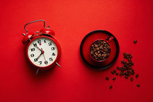 Retro Alarm Clock With Cup Of ...