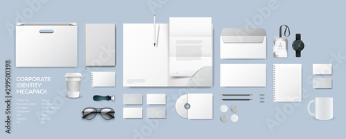 Fototapeta Corporate identity premium branding design. Stationery mockup vector megapack full set. Template folder and A4 letter, visiting card and envelope. Empty objects for presentation company style. obraz