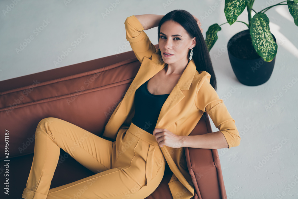 Fototapety, obrazy: Top above high angle photo of elegant sweet fancy girl lady lie on brown leather couch want attract handsome millionaire man wearing stylish good looking clothes indoors