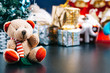 canvas print picture - Christmas holiday background concept with toys, decorations, ornaments