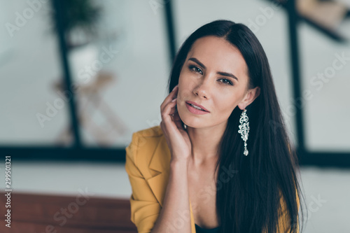 Foto auf Gartenposter Individuell Close-up portrait of her she nice-looking attractive charming stunning perfect winsome adorable lady partner leader in modern style interior glass room flat house indoors