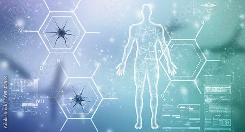 Obraz 2d illustration Human Male Muscle Body - fototapety do salonu