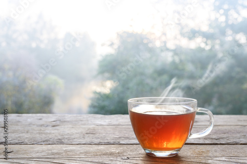 Recess Fitting Tea Hot steaming tea in a glass cup on a rustic wooden outdoor table on a cold foggy winter day, copy space, selected focus, narrow depth of field