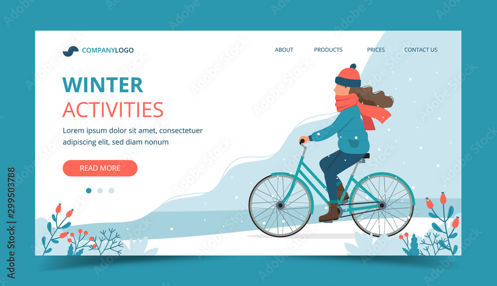 Fototapety, obrazy: Girl riding bike in the park in winter. Landing page template. Cute vector illustration in flat style.