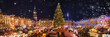 Panorama of dresdener christmas market in the snow