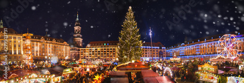 Panorama of dresdener christmas market in the snow Wallpaper Mural