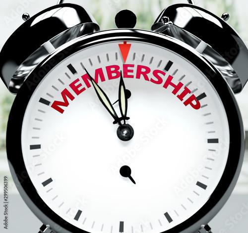 Membership soon, almost there, in short time - a clock symbolizes a reminder tha Tapéta, Fotótapéta