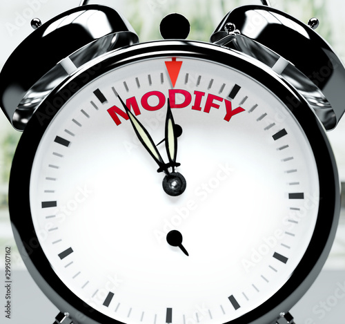 Modify soon, almost there, in short time - a clock symbolizes a reminder that Mo Canvas Print