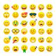 Funny yellow round emoji vector icons set
