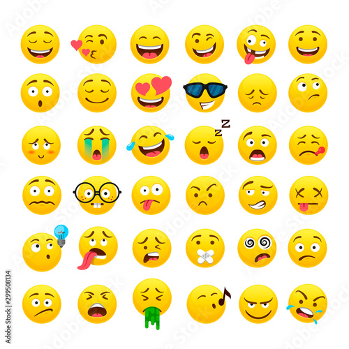 Funny yellow round emoji vector icons set Canvas Print