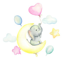 Elephant Watercolor Drawing. Cute Elephant Sitting On The Moon, Surrounded By Balloons. Set On Isolated Background. For Children's Cards And Invitations.