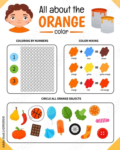 Kids learning material. Worksheet for learning colors. Orange color.