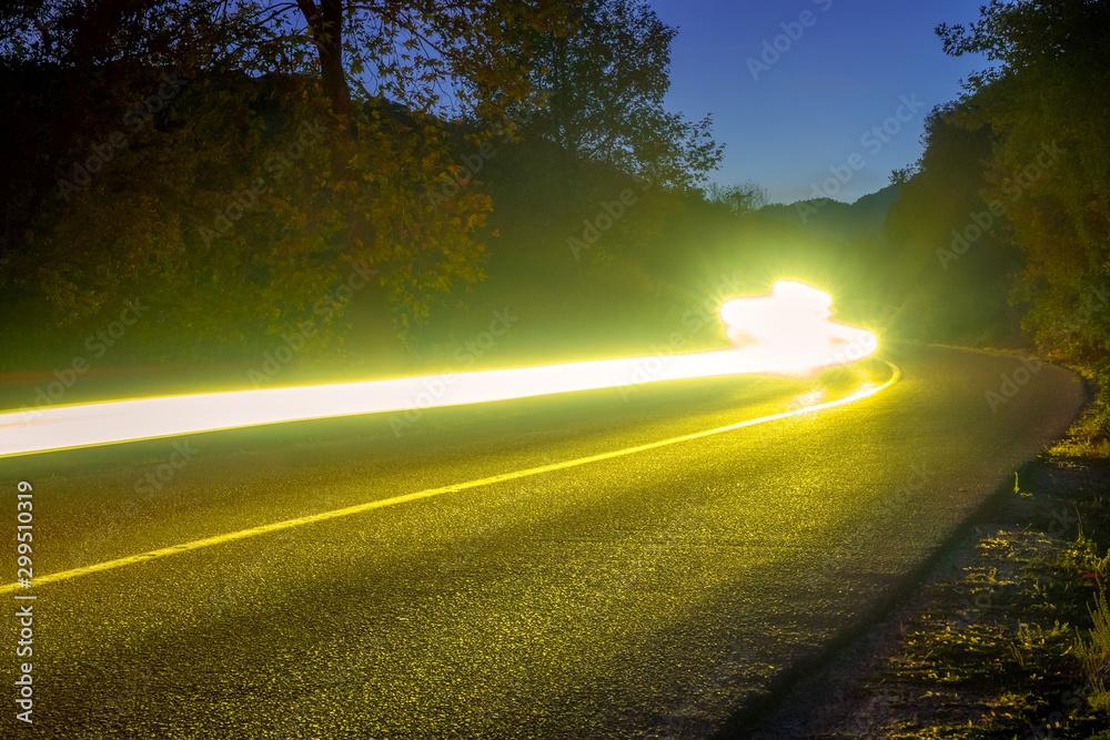 Fototapety, obrazy: Headlight Trails on the Night Road
