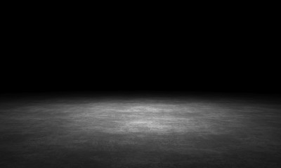 Black background with spotlight to stone ground. Dark interior background. 3D rendering