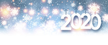 Blue Shiny 2020 New Year Background With Snowflakes.