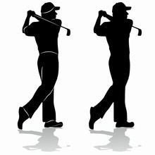 Isolated Silhouette Of Golfer,  Vector Drawing