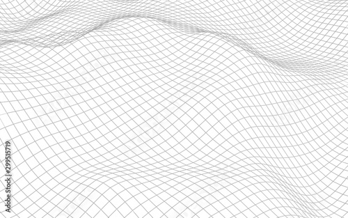 Foto auf Leinwand Weiß Abstract landscape on a white background. Cyberspace grid. hi tech network. 3d illustration
