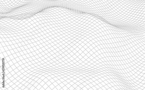 Obraz Abstract landscape on a white background. Cyberspace grid. hi tech network. 3d illustration - fototapety do salonu