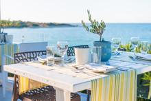 Beautiful Tropical Restaurant And Beach With Turquoise Water. Corfu Island, Greece.