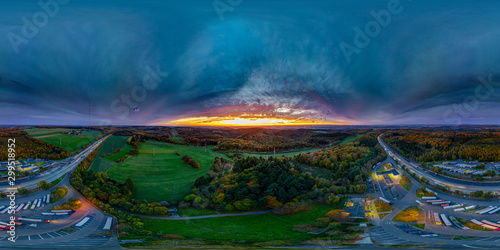 Spoed Foto op Canvas UFO ufo in the eveningsky full vr panorama