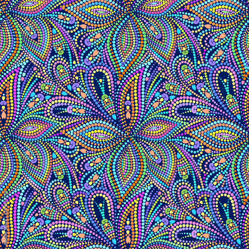 Seamless colorful mosaic pattern with paisley. Traditional ethnic ornament. Vector print. Use for wallpaper, pattern fills,textile design.