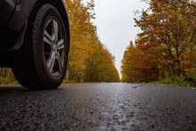 Autumn Road In The Forest. Car In The Autumn Forest.