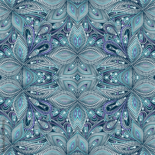 Seamless mosaic turquoise pattern with dots. Traditional ethnic ornament. Vector print. Use for wallpaper, pattern fills,textile design.