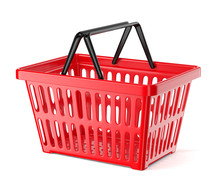 Red Plastic Supermarket Basket With Two Handles Isolated On White Background