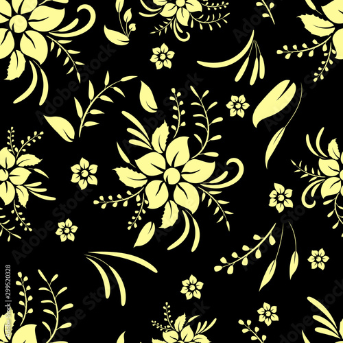 Seamless pattern with golden decorative elements of flowers and leaves on a black background.