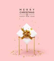 Obraz na płótnie Canvas Christmas background. Xmas composition realistic 3d and realistic design, gift box, falling glitter gold confetti. Happy New year minimal design. vector illustration