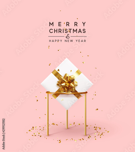 Christmas background. Xmas composition realistic 3d and realistic design, gift box, falling glitter gold confetti. Happy New year minimal design. vector illustration