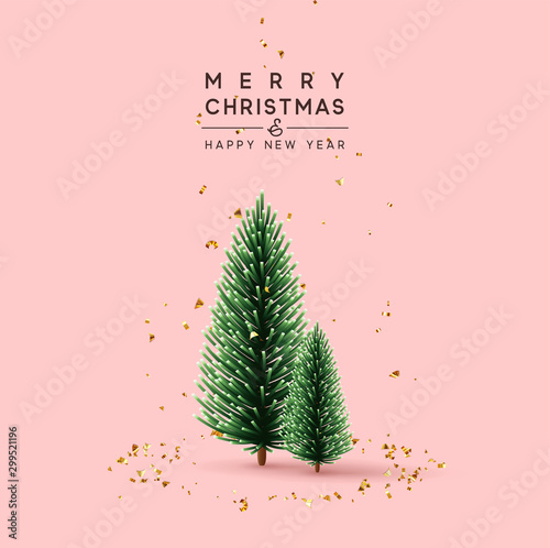 Obraz Merry Christmas and Happy New Year. Pink Background with decorative pine and spruce trees. Falling glitter gold confetti. Xmas greeting card, holiday poster, banner for web site. vector illustration - fototapety do salonu