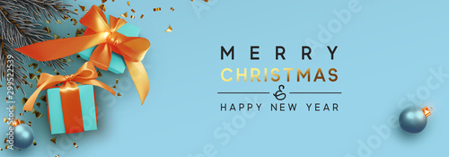 Merry Christmas and Happy New Year Fototapeta