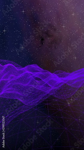 Fototapeta Abstract ultraviolet landscape on a dark background. Purple cyberspace grid. hi tech network. Outer space. Violet starry outer space texture. 3D illustration obraz na płótnie