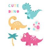 Fototapeta Dino - Set of cute isolated dinosaurs. Triceratops, brontosaurus, tyrannosaurus, egg, tropical leaves. Vector illustration for children on a white background.
