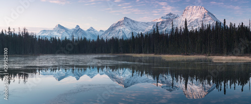 Obraz Almost nearly perfect reflection of the Rocky mountains in the Bow River. Near Canmore, Alberta Canada. Winter season is coming. Bear country. Beautiful landscape background concept. - fototapety do salonu