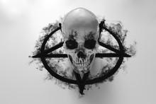 White Human Skull On Top Of Bl...