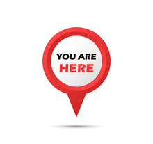 You Are A Pointer Here. Marker Vector Icon. Location Pointer.