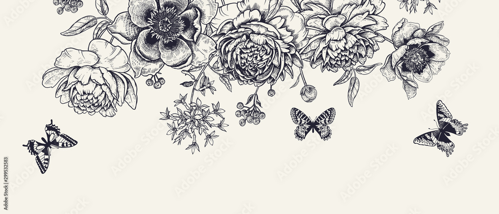 Fototapety, obrazy: Luxurious decoration. Garland of luxurious blooming peonies, butterflies and birds.