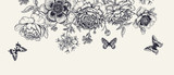 Fototapeta Kwiaty - Luxurious decoration. Garland of luxurious blooming peonies, butterflies and birds.