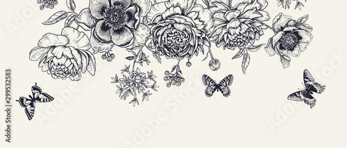 Fototapeta Luxurious decoration. Garland of luxurious blooming peonies, butterflies and birds. obraz