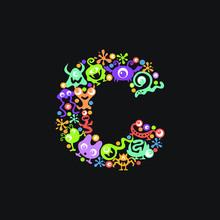 Monster Font. Letter C Made Of...