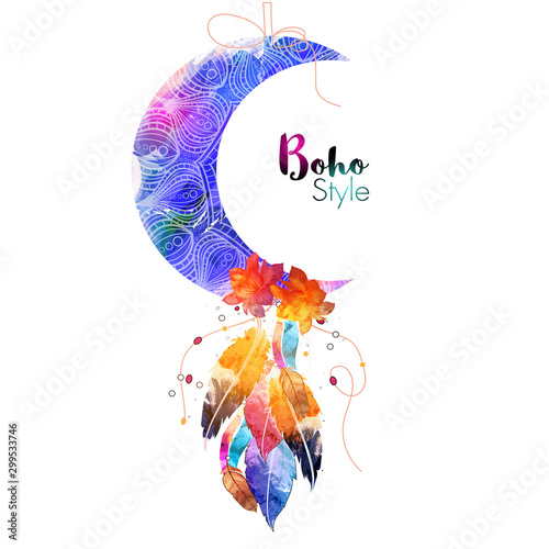 Boho style Moon with colorful ethnic feathers. Wallpaper Mural