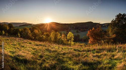 Autocollant pour porte Vieux rose Autumn sunset landscape at Lower Silesia/Poland