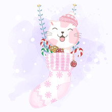 Cat In The Sock Hanging With Christmas Decoration Illustration