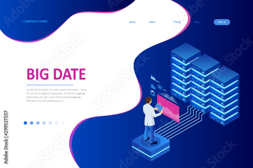 Pinturas sobre lienzo  Big data storage and cloud computing technology, machine learning, artificial intelligence concept