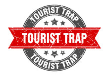 Tourist Trap Round Stamp With Red Ribbon. Tourist Trap