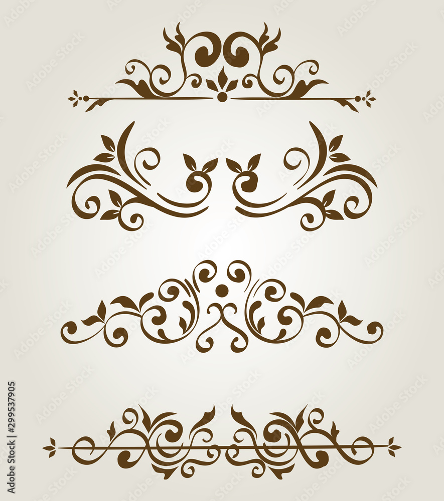 Fototapeta bundle of elegant ornamental borders frames vector illustration design