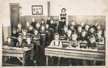 Children Classmates Teacher Classroom Vintage Photo