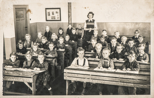 Fototapeta Children classmates teacher classroom Vintage photo obraz